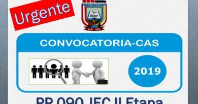 SEGUNDA CONVOCATORIA DE CONTRATO ADMINISTRATIVO DE SERVICIO CAS 2019 – PP 0090 JEC