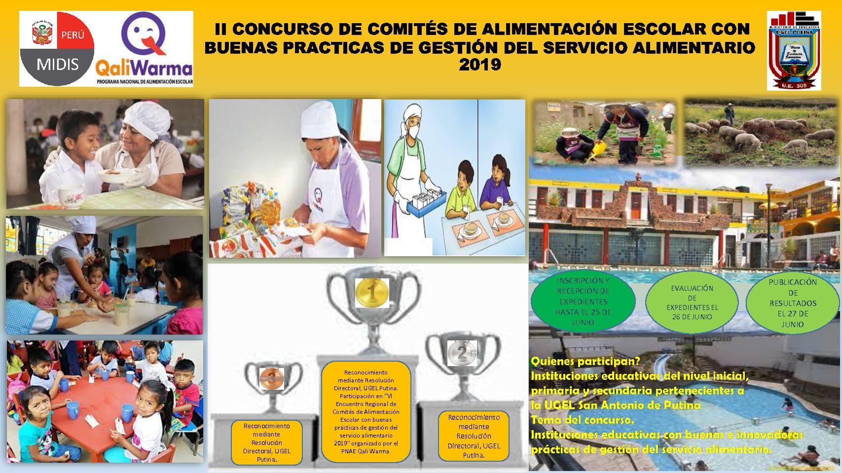 II CONCURSO DE COMITÉS DE ALIMENTACIÓN ESCOLAR CON BUENAS PRÁCTICAS  DE GESTIÓN DEL SERVICIO ALIMENTARIO 2019