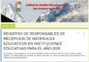 REGISTRO DE RESPONSABLES DE RECEPCIÓN DE MATERIALES EDUCATIVOS EN II.EE. PARA EL AÑO 2020