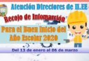 ATENCIÓN DIRECTORES DE II.EE. RECOJO DE INFORMACIÓN PARA EL BIAE 2020.