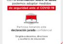INFORMACIÓN SOBRE TU SALUD PODEMOS ADOPTAR MEDIDAS DE SEGURIDAD ANTE EL COVID-19