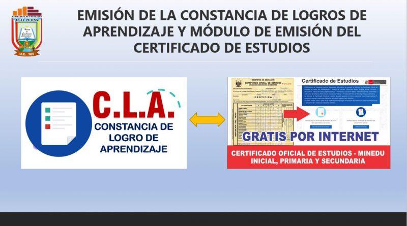 EMISIÓN DE CERTIFICADO DE ESTUDIOS Y CONSTANCIA DE LOGROS DE APRENDIZAJE