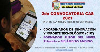 PROCESO DE SELECCIÓN CAS  2021 – 2DA. CONVOCATORIA (Resultado Final Hoja de Vida)