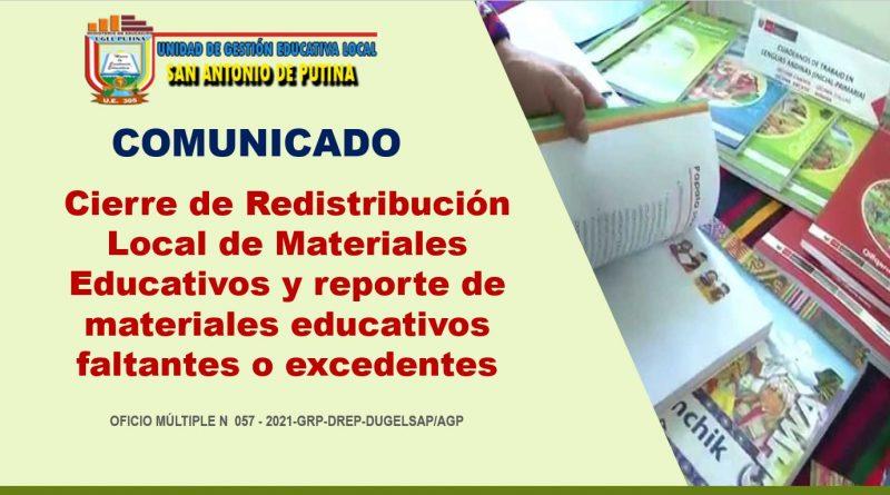 Cierre de Redistribución Local de Materiales Educativos y reporte de materiales educativos faltantes o excedentes