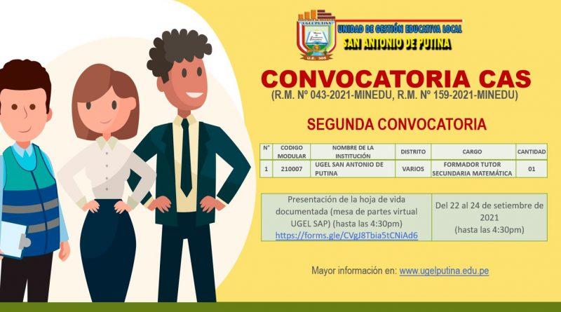 2da. CONVOCATORIA CAS Formador Tutor Secundaria – Matemática